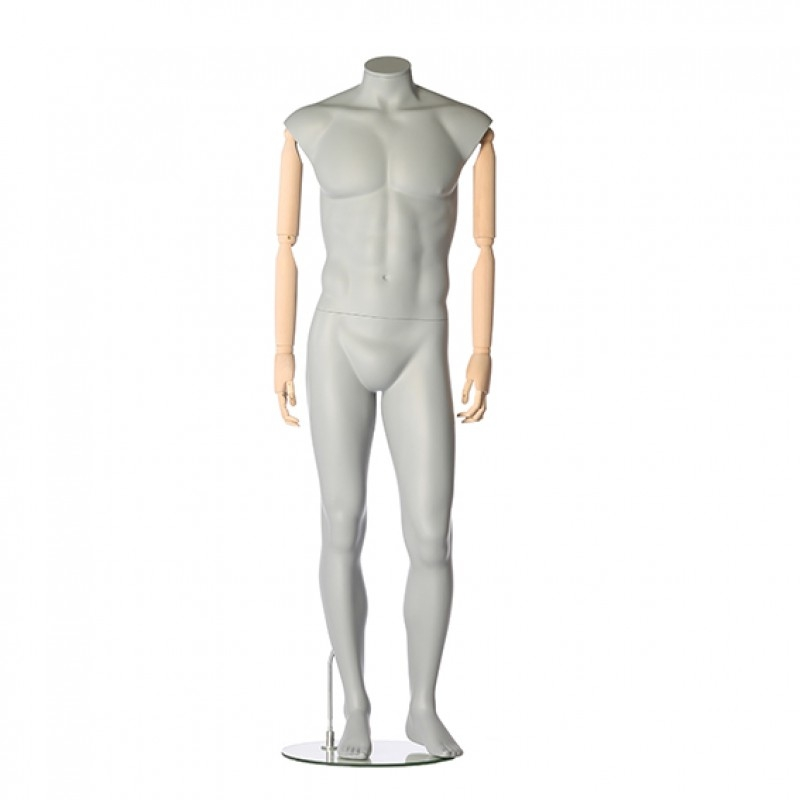 MALE MANNEQUIN – HEADLESS - FLEXIBLE  WOODEN ARMS – RELAXED POSE – DARROL 700 SERIES
