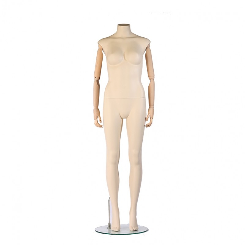 FEMALE MANNEQUIN - HEADLES - IVORY – FLEXIBLE  WOODEN ARMS – STRAIGHT POSE – DARROL 700 SERIES
